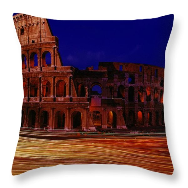 Traffic Races Around The Ruins Throw Pillow by Winfield Parks