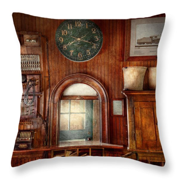 Train - Office - The Ticket Takers Window Throw Pillow by Mike Savad