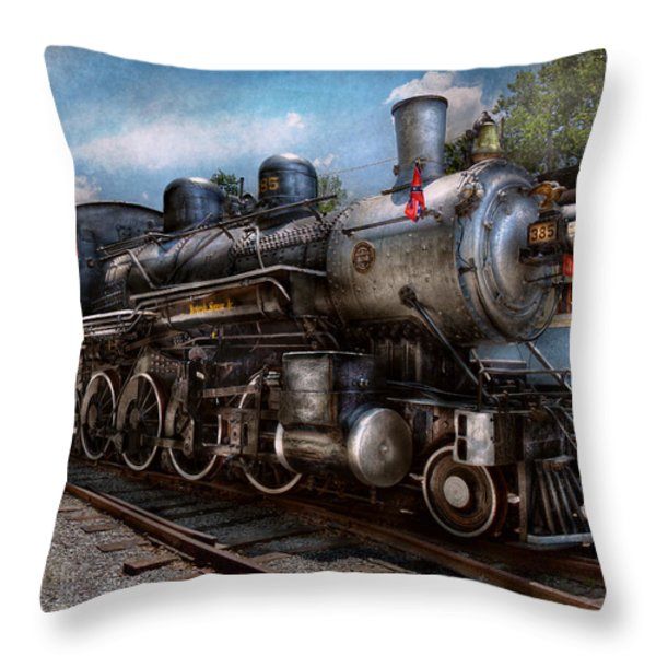 Train - Steam - 385 Fully Restored Throw Pillow by Mike Savad