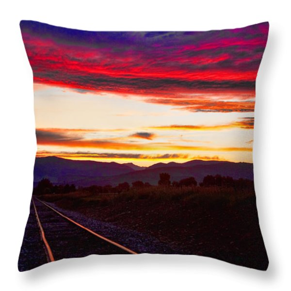 Train Track Sunset Throw Pillow by James BO  Insogna