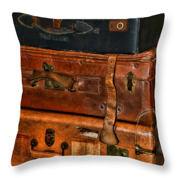 Travel - Old Bags Throw Pillow by Paul Ward