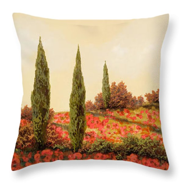 tre case tra i papaveri Throw Pillow by Guido Borelli