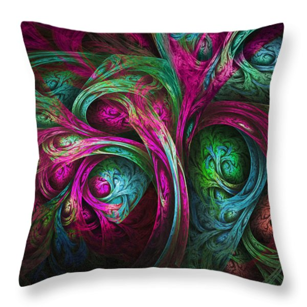 Tree Of Life-pink And Blue Throw Pillow by Tammy Wetzel