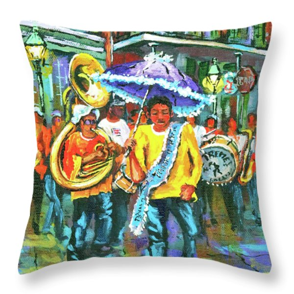 Treme Brass Band Throw Pillow by Dianne Parks