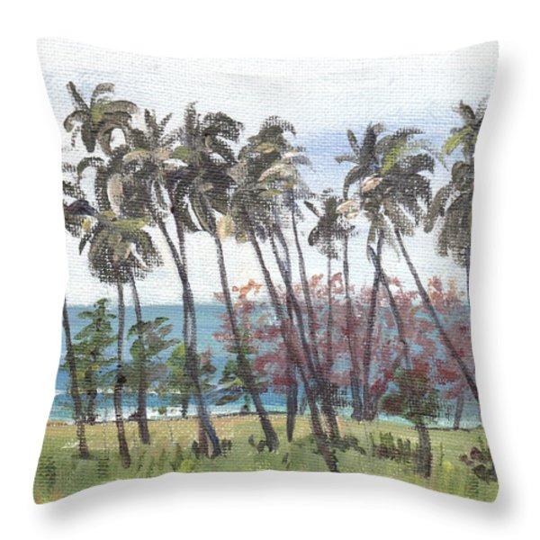 Tres Palmas Throw Pillow by Sarah Lynch
