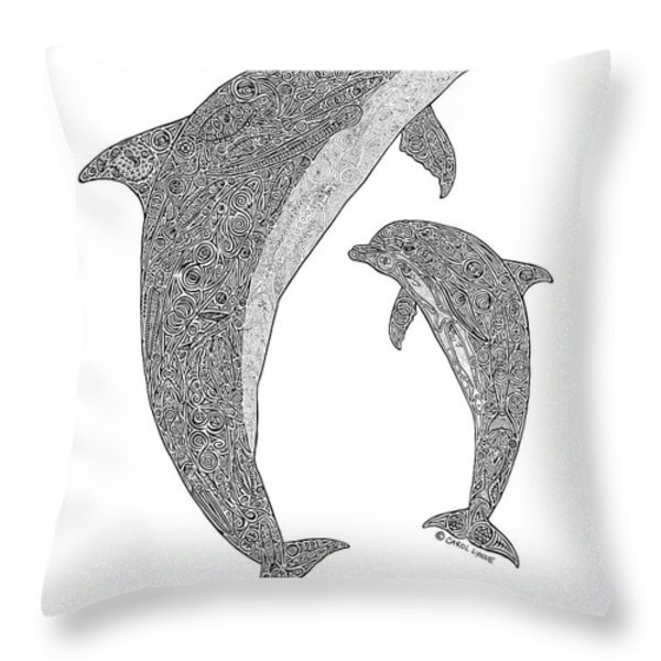Tribal Bottle Nose Dolphin And Calf Throw Pillow by Carol Lynne