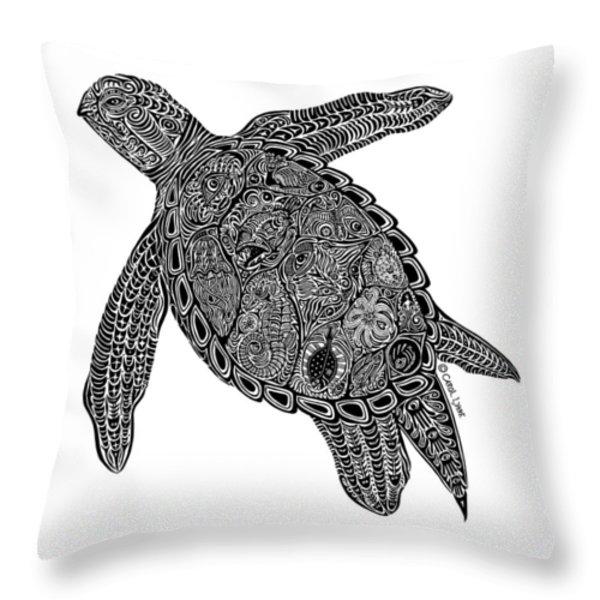 Tribal Turtle I Throw Pillow by Carol Lynne