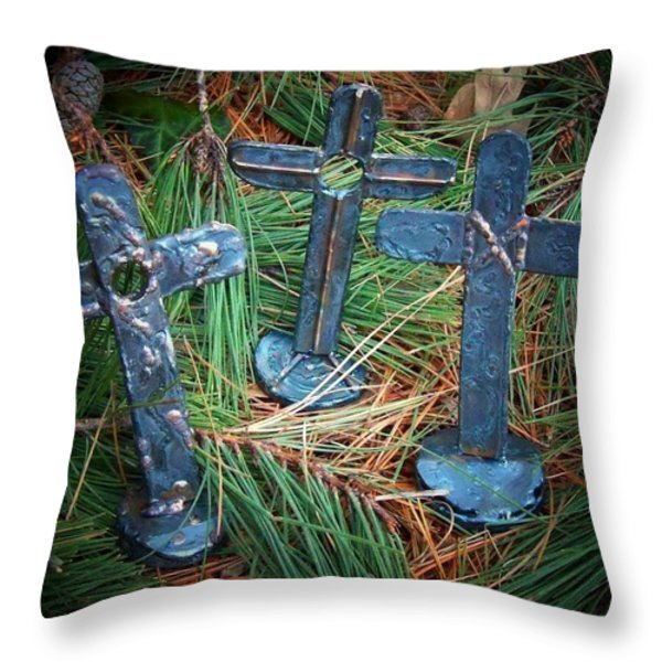 Trio In Pine Throw Pillow by Deborah Montana