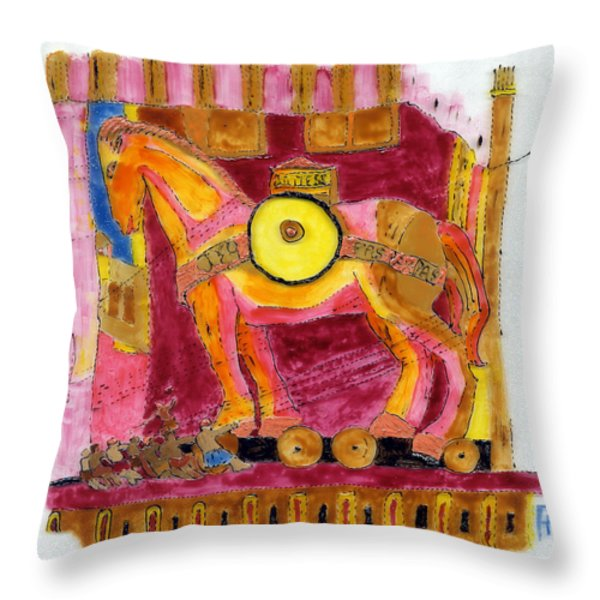 Trojan Horse Throw Pillow by Phil Strang