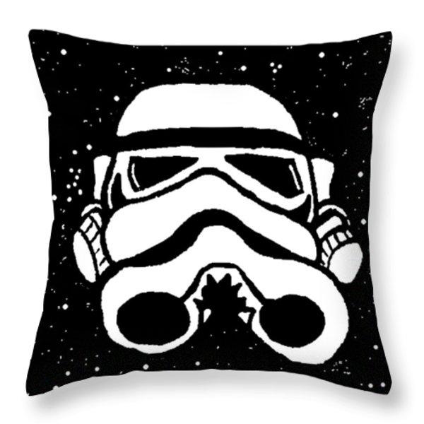 Trooper on Starry Sky Throw Pillow by Jera Sky