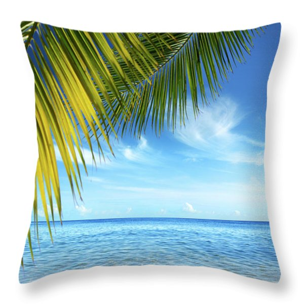 Tropical Beach Throw Pillow by Carlos Caetano