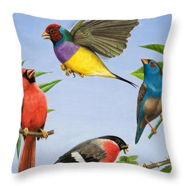 Tropical Birds Throw Pillow by RB Davis