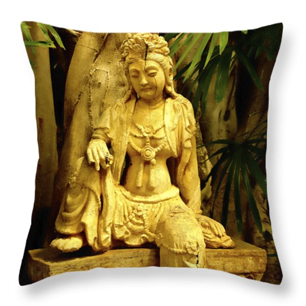 Tropical Buddha Throw Pillow by Cheryl Young
