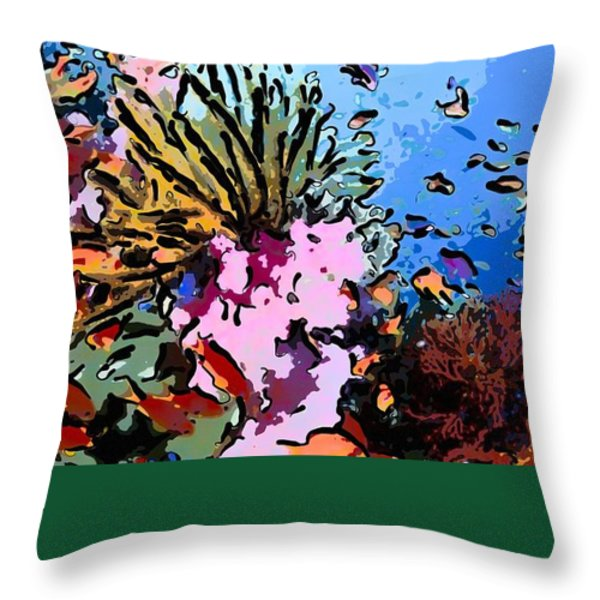 Tropical Coral Reef  2 Throw Pillow by Lanjee Chee