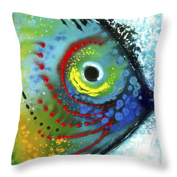 Tropical Fish Throw Pillow by Sharon Cummings