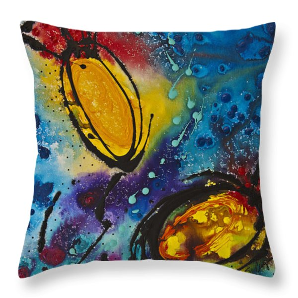 Tropical Flower Fish Throw Pillow by Sharon Cummings