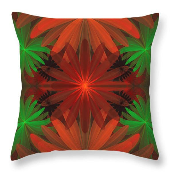 Tropical Flowers Throw Pillow by Sandy Keeton