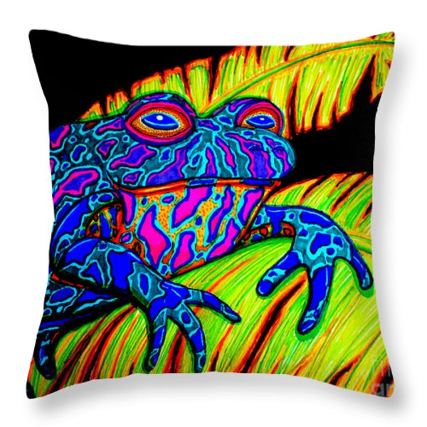 Tropical Frog Throw Pillow by Nick Gustafson