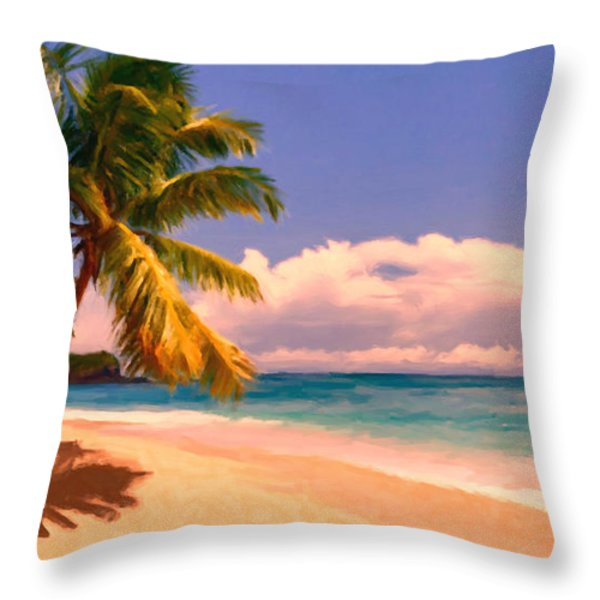 Tropical Island 6 - Painterly Throw Pillow by Wingsdomain Art and Photography