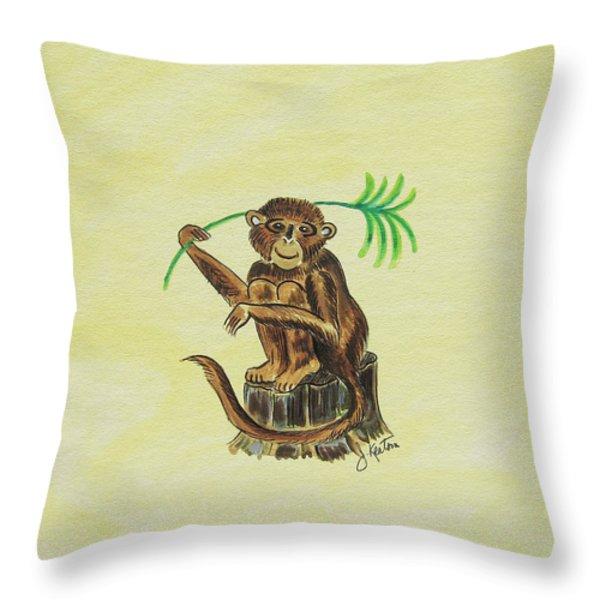 Tropical Monkey 3 Throw Pillow by John Keaton
