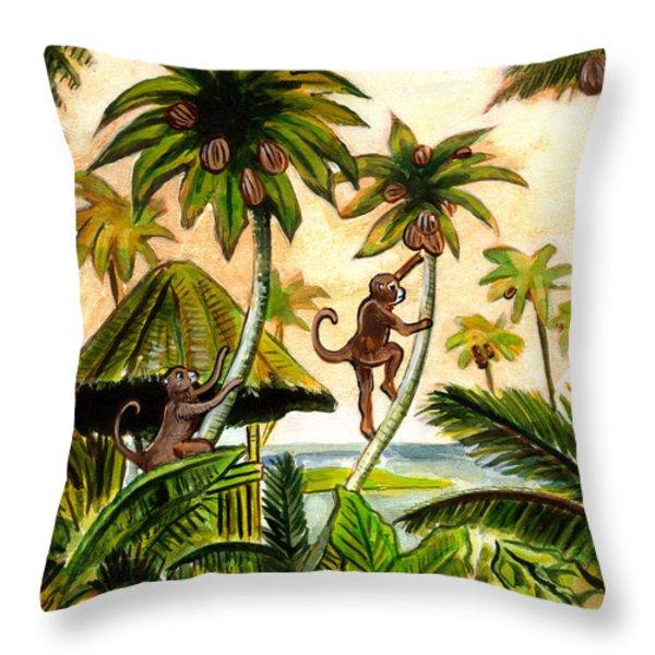 Tropical Scene Throw Pillow by John Keaton