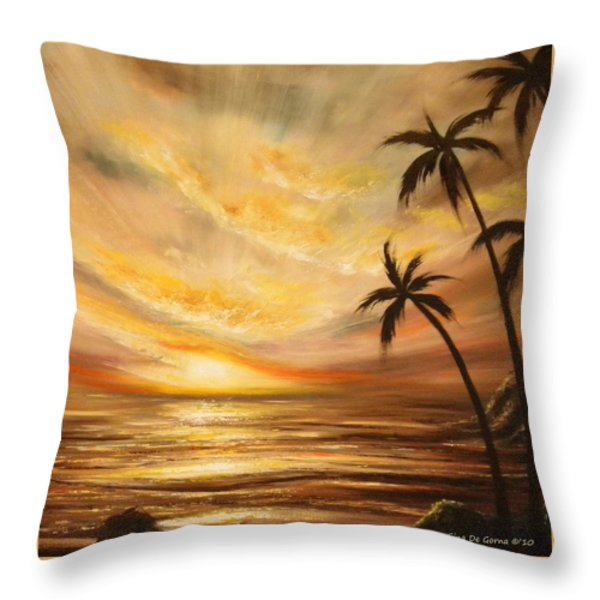 Tropical Sunset 64 Throw Pillow by Gina De Gorna