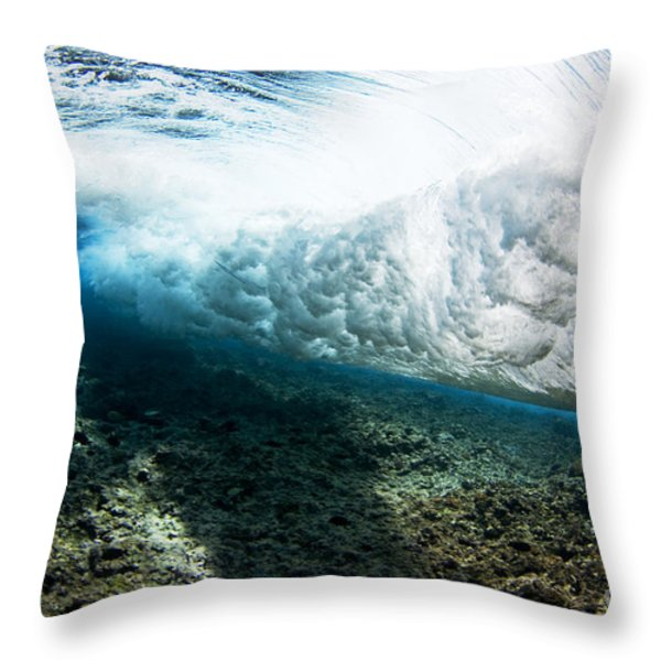 Tropical Wave Curl Throw Pillow by Dave Fleetham - Printscapes