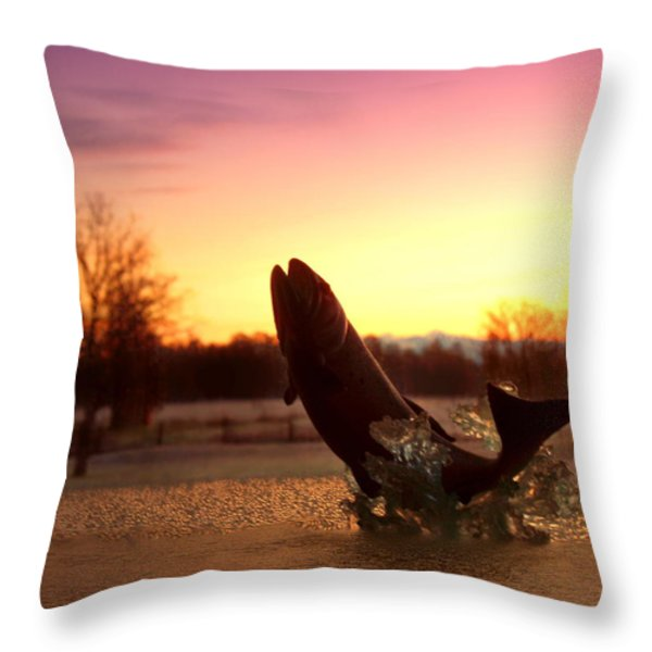 Trout Sunrise Throw Pillow by Joyce Dickens