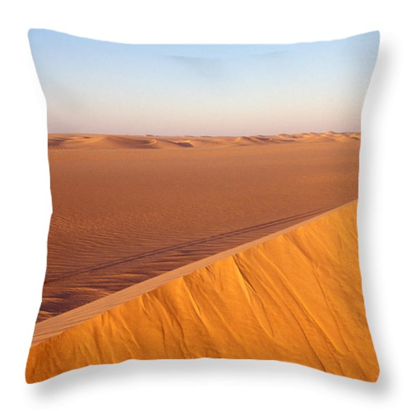 Tuaregs Catch Up To Their Camel Caravan Throw Pillow by Michael S. Lewis