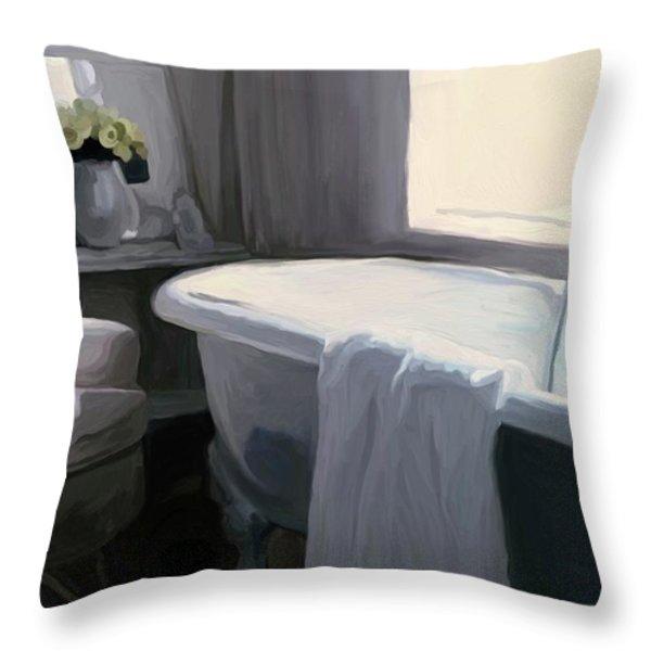 Tub in Grey Throw Pillow by Patti Siehien