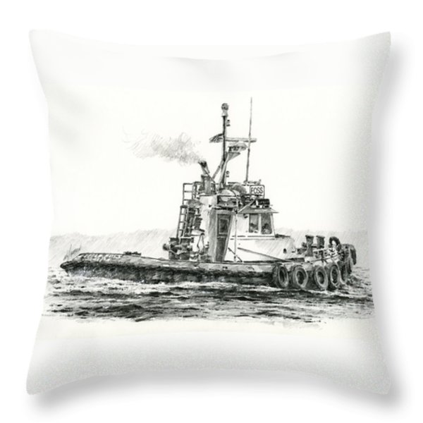 Tugboat Kelly Foss Throw Pillow by James Williamson