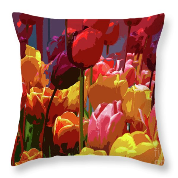Tulip Confusion Throw Pillow by Sharon  Talson