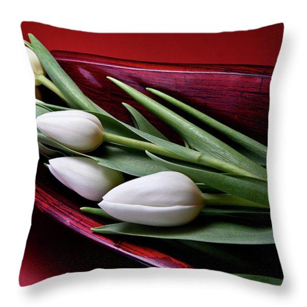 Tulips II Throw Pillow by Tom Mc Nemar