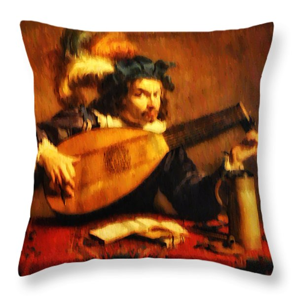Tuning Up the Lute Throw Pillow by Bill Cannon