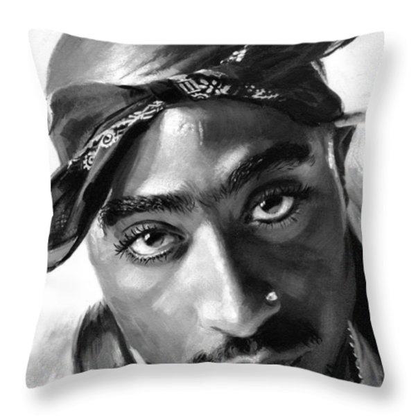 Tupac Shakur Throw Pillow by Ylli Haruni