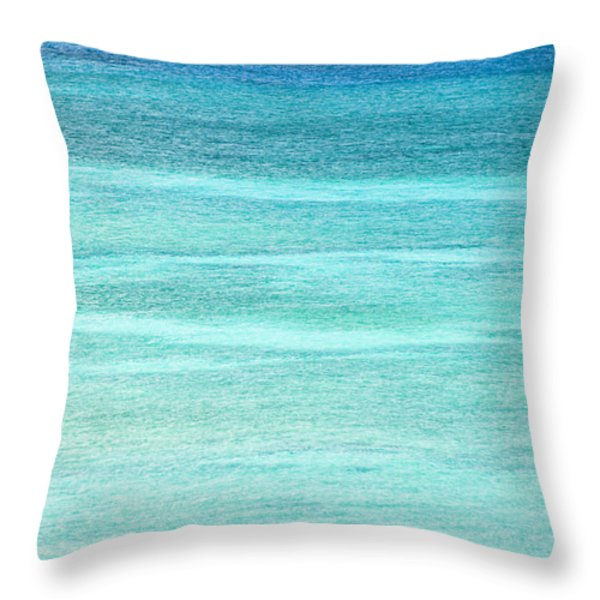 Turquoise Blue Carribean Water Throw Pillow by James Forte