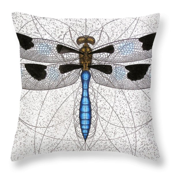 Twelve Spotted Skimmer Throw Pillow by Charles Harden