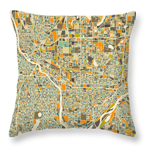 TWIN CITIES Throw Pillow by Jazzberry Blue