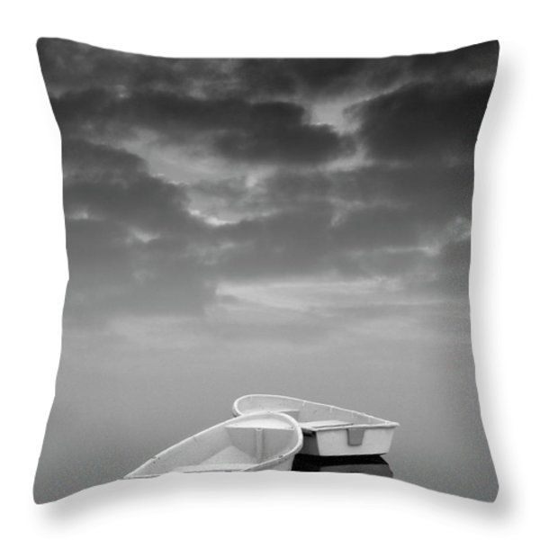 Two Boats And Clouds Throw Pillow by Dave Gordon