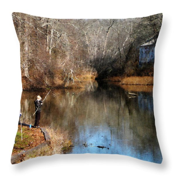 Two Boys Fishing Throw Pillow by Susan Savad