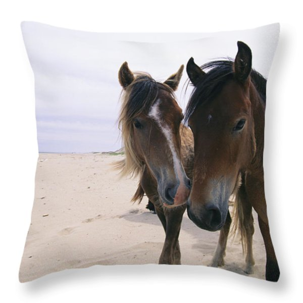 Two Curious Wild Horses On The Beach Throw Pillow by Nick Caloyianis