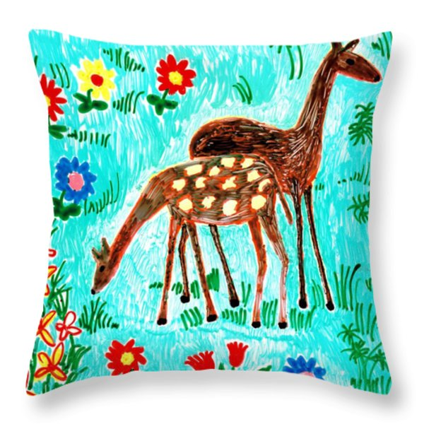 Two Deer Throw Pillow by Sushila Burgess