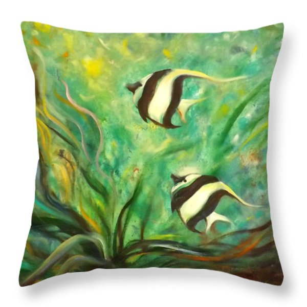 Throw Pillows - Two Fish Throw Pillow by Gina De Gorna