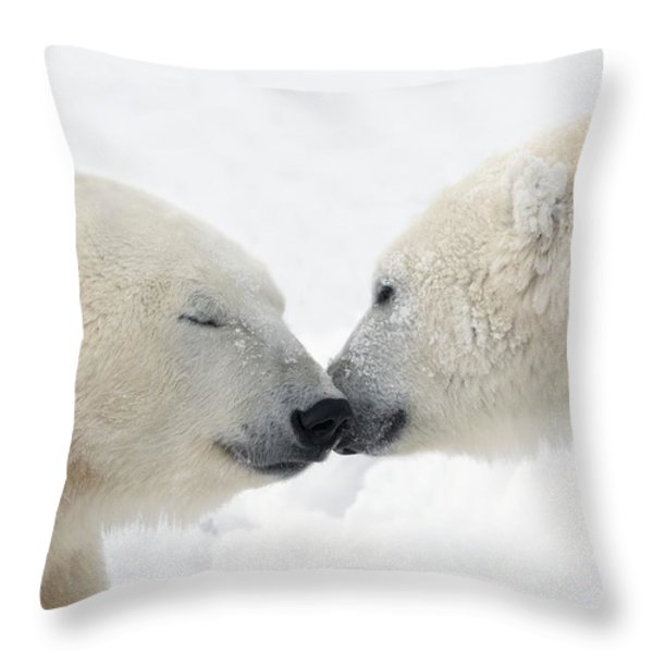 Two Polar Bears Ursus Maritimus Throw Pillow by Richard Wear