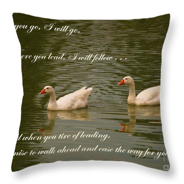 Two Swans - Marriage Vows Throw Pillow by Yali Shi