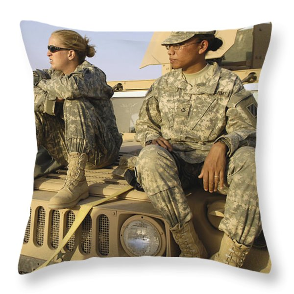 Two U.s. Army Soldiers Relax Prior Throw Pillow by Stocktrek Images