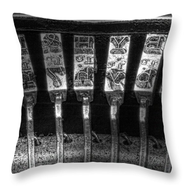 Typewriter Keys Throw Pillow by Tom Mc Nemar