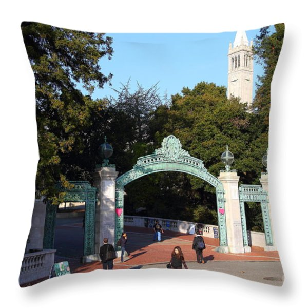 Uc Berkeley . Sproul Plaza . Sather Gate And Sather Tower Campanile . 7d10025 Throw Pillow by Wingsdomain Art and Photography