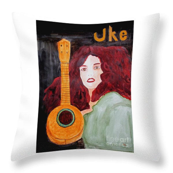 Uke Throw Pillow by Sandy McIntire