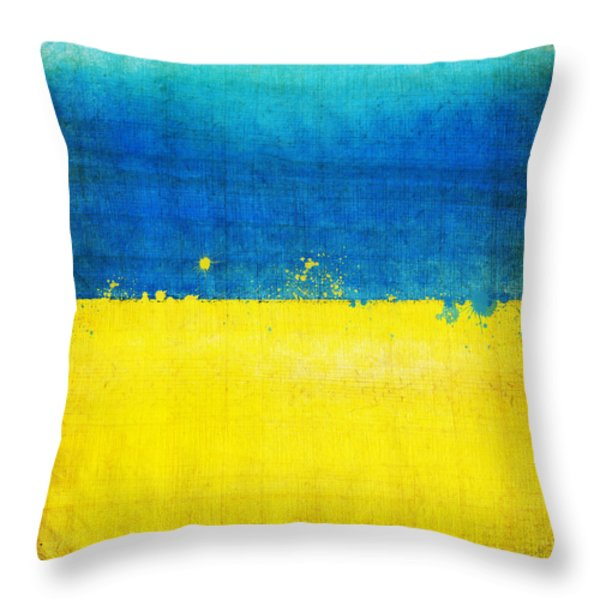 Ukraine Flag Throw Pillow by Setsiri Silapasuwanchai